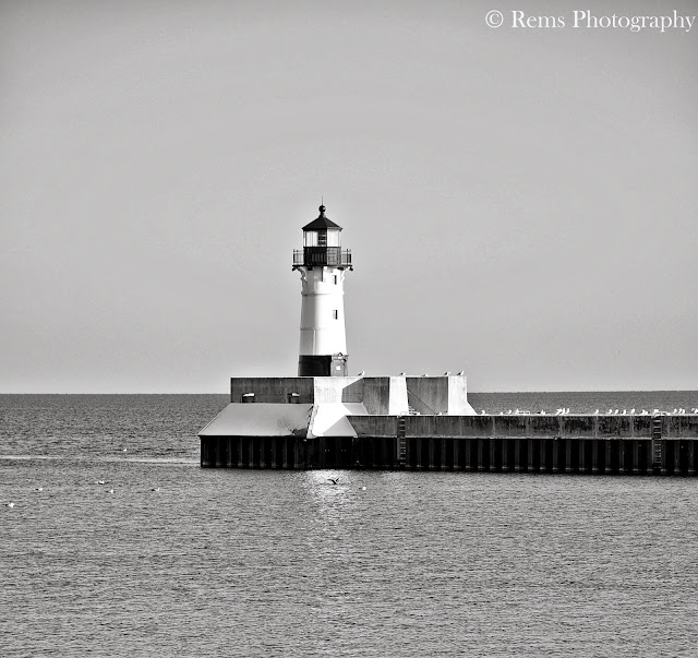 Light house in black and white