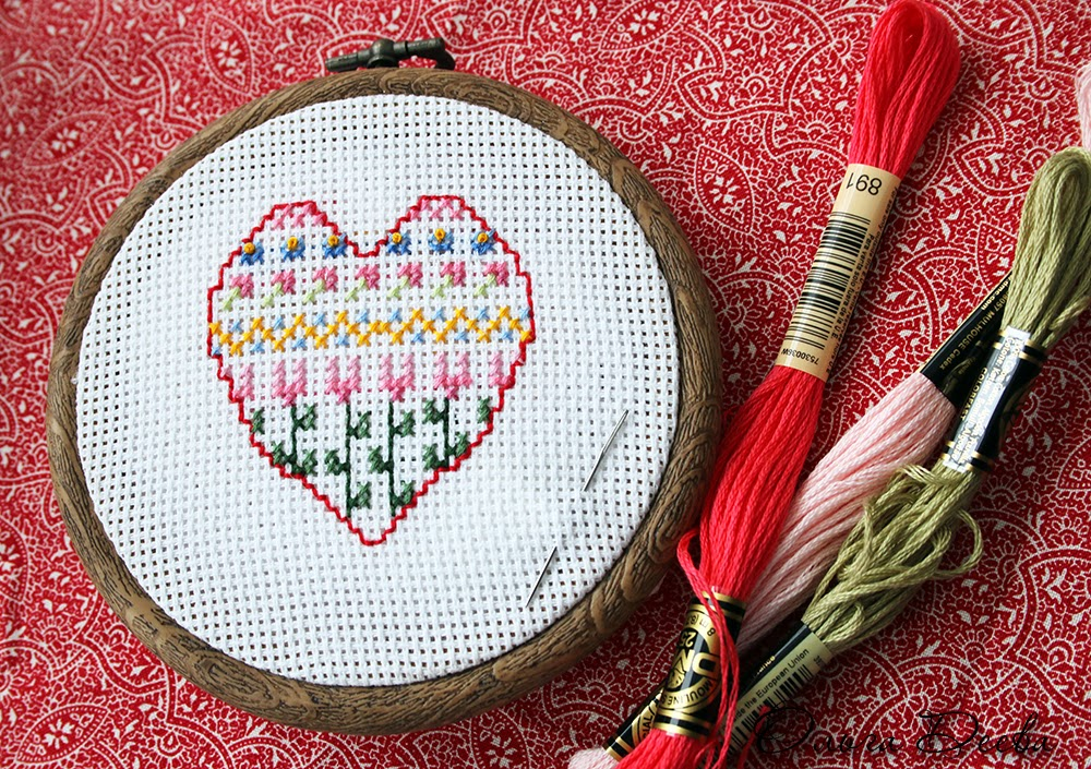 Сердце вышивка / Heart cross-stitching
