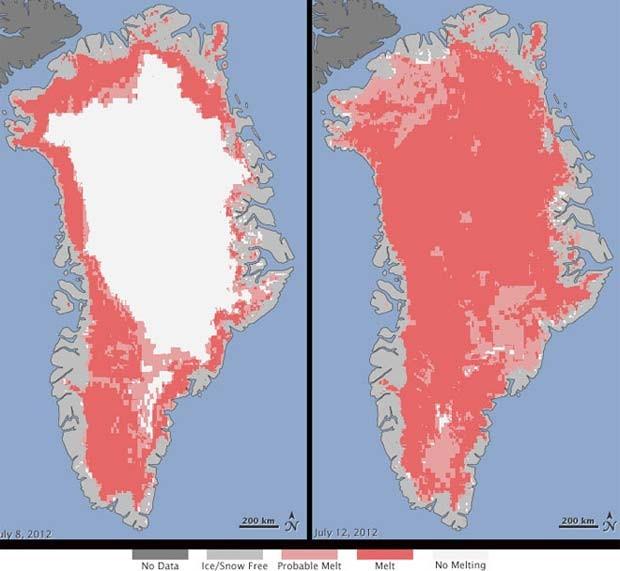 Satélites registram degelo recorde na superfície da Groenlândia
