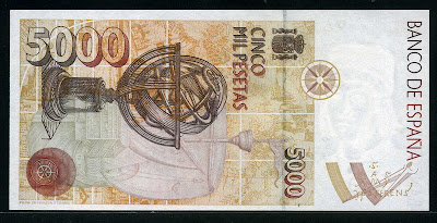 Spain currency 5000 Pesetas bill