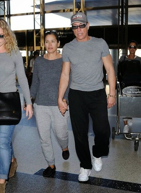 Still on JCVD hat, Jean-Claude Van Damme displayed his another simply chic for the outing as he was snapped to walking with wife, Gladys Portugues at LAX on Saturday, January 31, 2015.