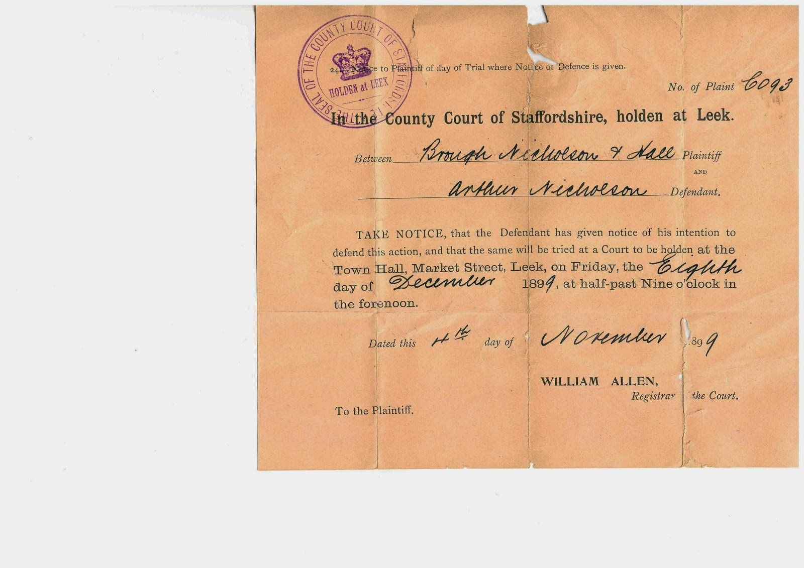 Leek County Court, Notice of Defended Action, Brough Nicholson & Hall Versus Arthur Nicholson, 4th November 1899