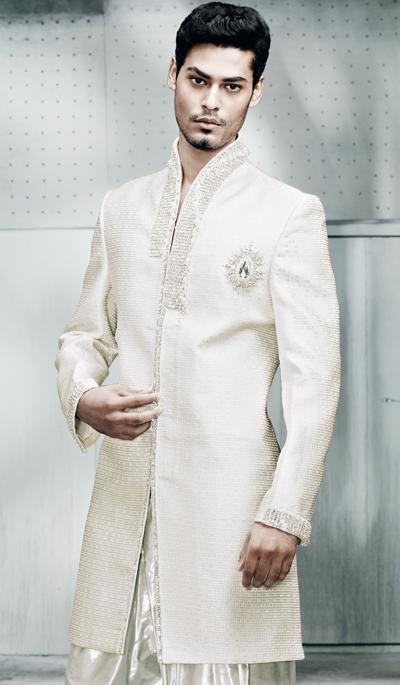 White Sherwani Groom Sherwani