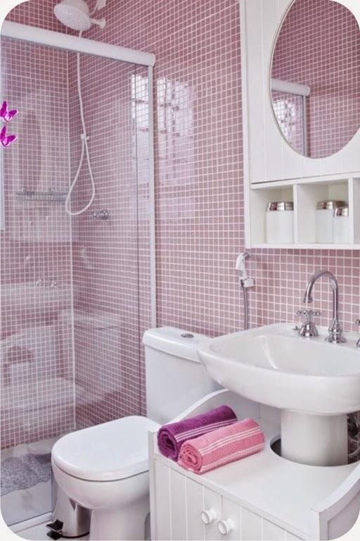 Nossa Casa Nova Inspirações para banheiro pequeno -> Banheiro Decorado Com Pastilhas Rosa