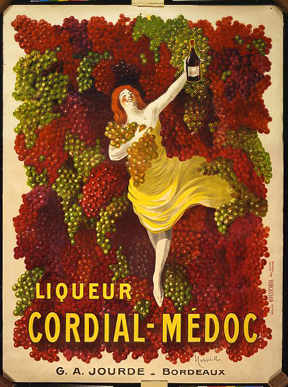 advertising, classic posters, food, free download, french poster, graphic design, retro prints, vintage, vintage posters, Liqueur Cordial-Medoc, G.A. Jourde, Bordeaux - Vintage Alcohol Advertising Poster