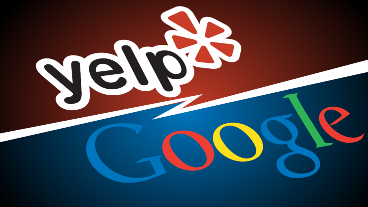 The Yelp Logo over a red background over a Google Logo with a blue background.  A white line of electricity separates them.
