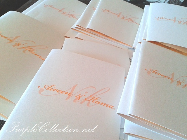 Peach and White Wedding Invitation Cards, wedding invitation cards, malay wedding cards, classic one fold, pearl white card, peach colour, peach and white, peach, white card, white, wedding card, wedding, invitation card