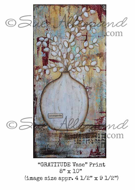 grateful, art, print, mixed media, Sue Allemand