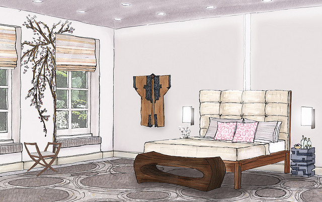 Foundation dezin decor sketch of bedroom for Interior design sketches