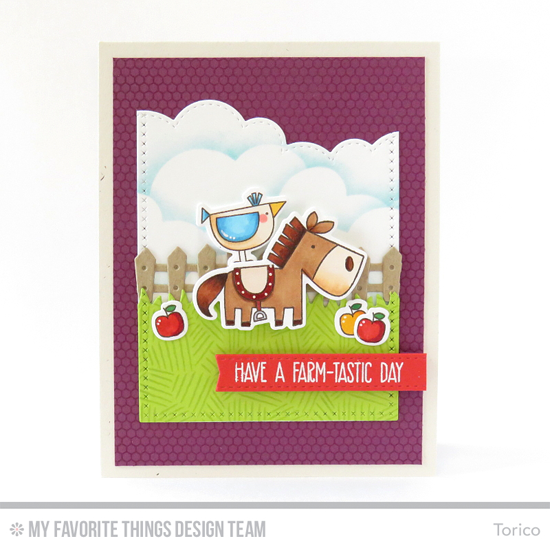 Farm-tastic Day Card by Torico featuring the Farm-tastic stamp set and Die-namics, Mini Hexagon Background and Etched Tribal Background stamps, and the Farm Fence, Grassy Fields, Stitched Cloud Edges, Cross-Stitch Rectangle STAX, and Blueprints 25 Die-namics #mftstamps
