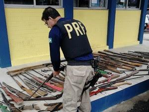Operação apreendeu ainda 64 armas de fogo (Foto: Divulgação/Polícia Rodoviária Federal)