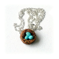 Birds nest Necklace made from polymer clay by Lottie Of London