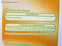 Ingredientes del zumo de naranja exprimida Auchan de Alcampo.