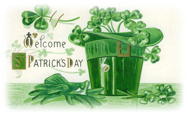 shamrocks in hat card