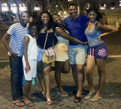 omotola jalade family vacation italy