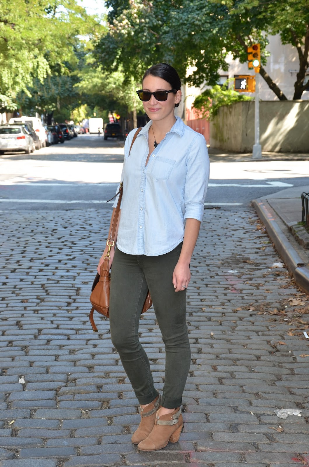 olive + chambray