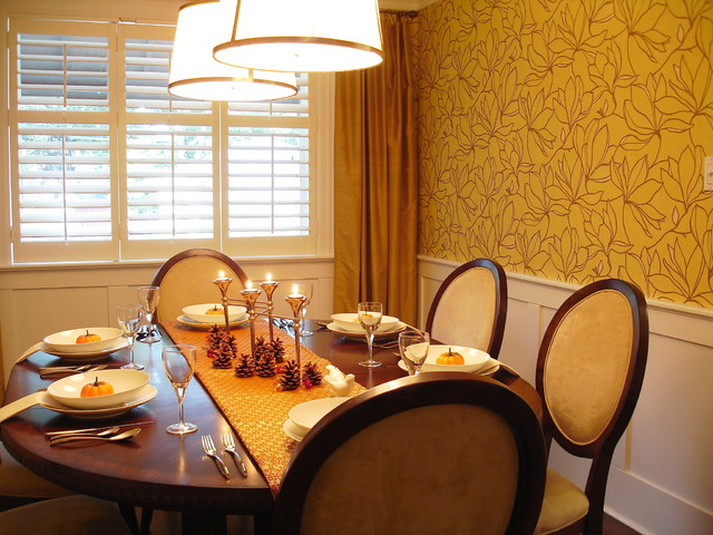 Fantastic Details in Dining Room with Wooden Round Dining Tables and Wooden Chairs under the Bright Lighting