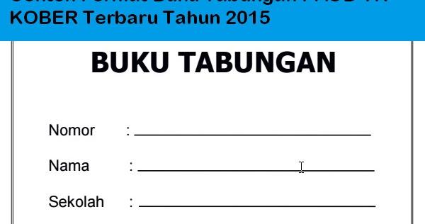 Download Contoh Format Buku Tabungan Paud Tk Kober Terbaru Tahun 2015 Informasi Pendidikan