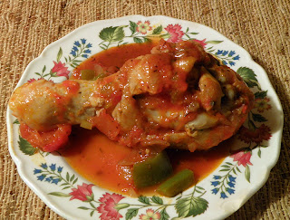 Chicken Leg with Cacciatore sauce on plate