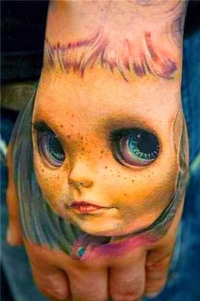 Ιmpressive 3D face doll tattoo