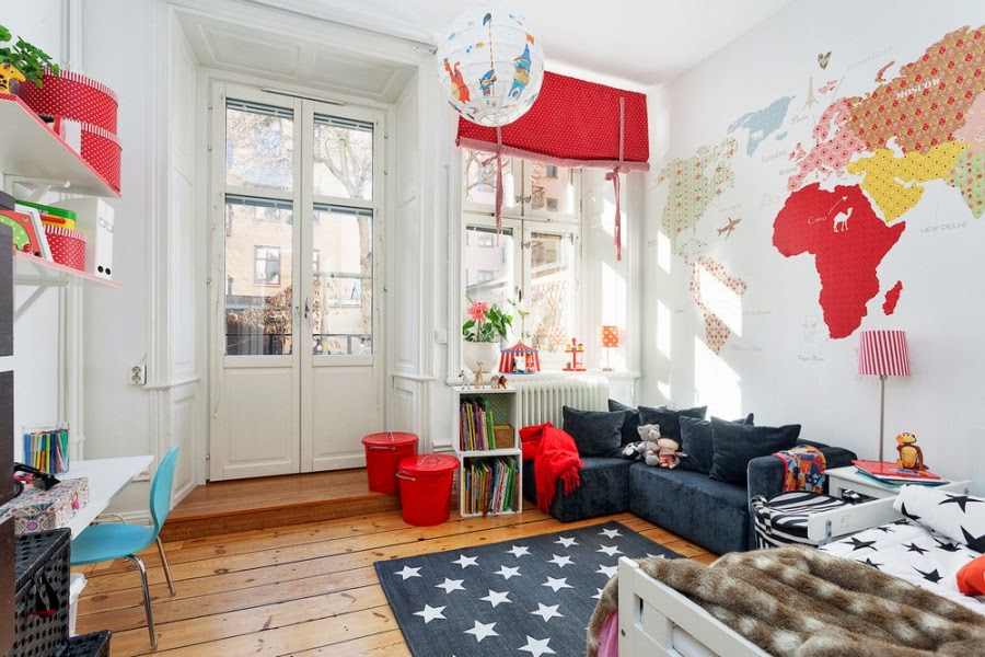 pokój dziecięcy, styl skandynawski, gwiazdki, dywan