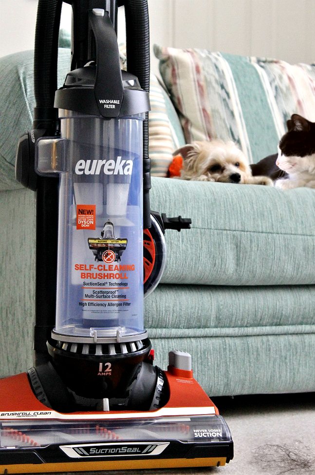 #LifeHacks for the hairy- Including the new Eureka Brushroll Clean™ with SuctionSeal® vacuum, the first in it's kind to cut through hair tangles with a ginle button! (And the 27 foot automatic cord return is pretty freakin sweet, too!) #CleaningUntangled #Ad