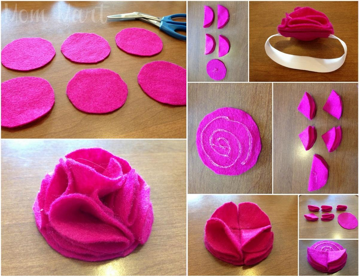 Felt Flower Patterns For Headbands Fold-Over Felt Flower Baby