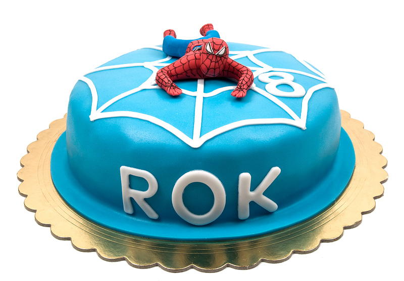 Torta Spiderman cake fondant topper front side