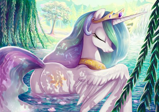 Exactly like her sister, Celestia enjoys having a peaceful bath in the sunny lake.