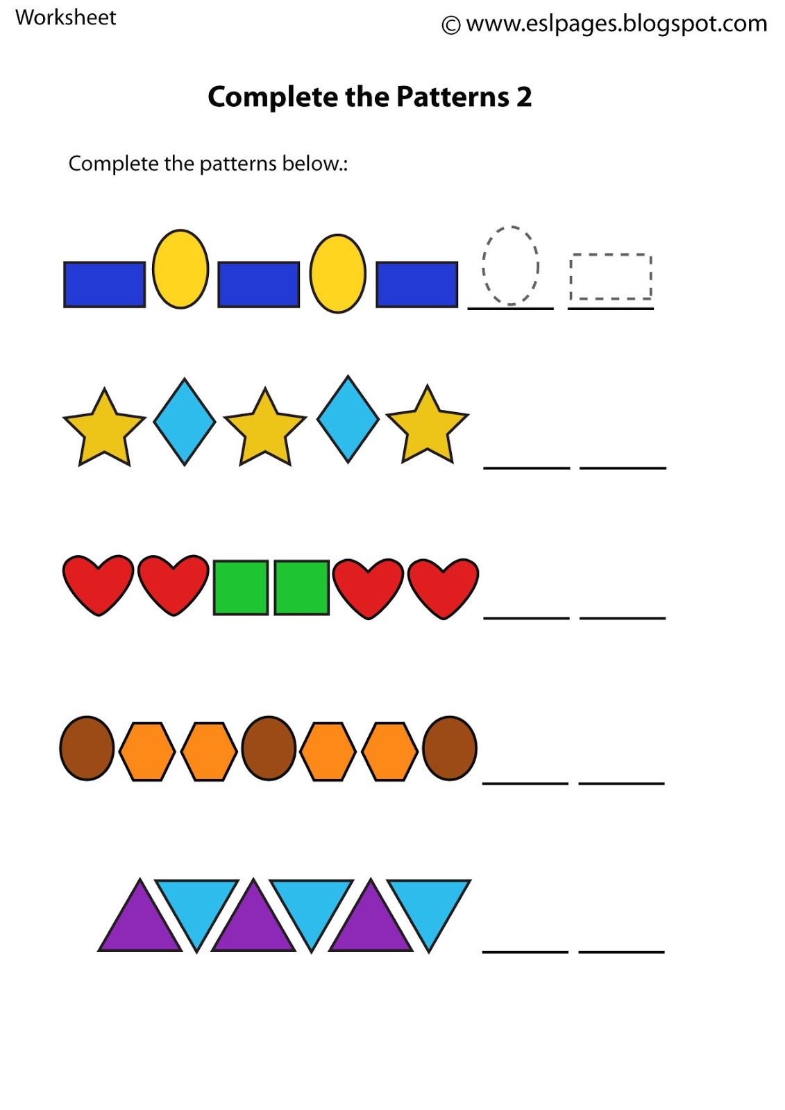 Esl Pages: Patterns Worksheets