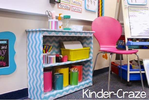 teal chevron bookcase