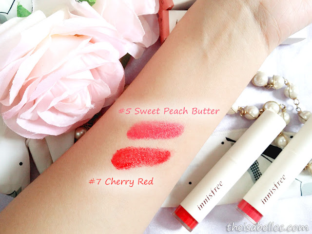 Innisfree Creammellow Lipstick Sweet Peach Butter Cherry Red swatch