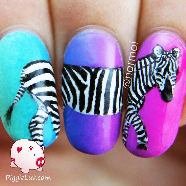 piggieluv zebra nail art neon