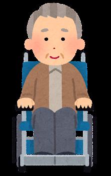 車椅子に乗ったお爺さんの表情イラスト(笑顔)