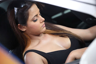 Neetu chandra hot Cleavage show in car pics