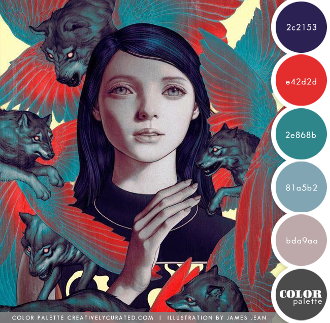 Color Palette 67 / Art by James Jean share don CreativelyCurated.com #jamesjean #color #colorpalette #illustration