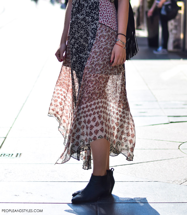 How to wear boho dress, backpack with fringes and ankle boots, street style summer outfit inspiration, designer sunglasses, Martina Babić