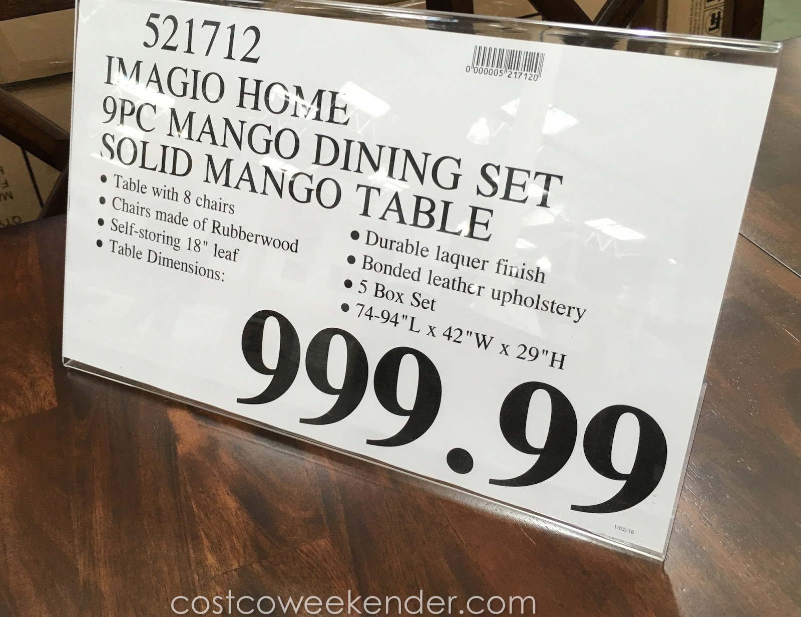 Imagio Home 9 piece Solid Wood Dining Set | Costco Weekender