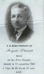 Auguste Provost memorial card