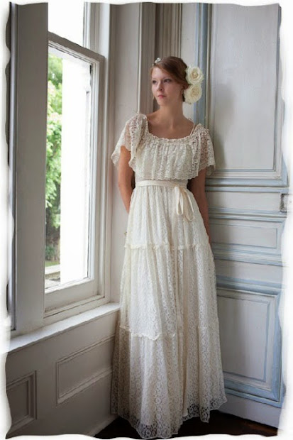 1970s tiered lace wedding dress