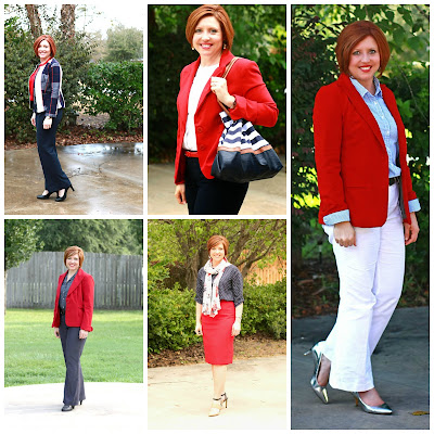 red, white and blue work looks