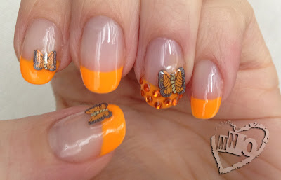 butterfly nail art design fimo neon orange easy simple
