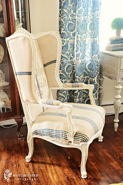 How to paint burlap dining room chairs classy clutter - Mustard seed interiors ...