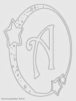 Mewarnai Gambar Huruf Alfabet A Bergaya Bulan Bintang