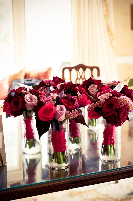 jewel tone bridal party bouquets