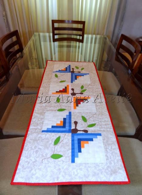 Caminho de mesa, patchwork, apliquê, log cabin, cabana de toras, técnica patchwork, aula patchwork, patchwork tv, ateliê na TV, passo a passo