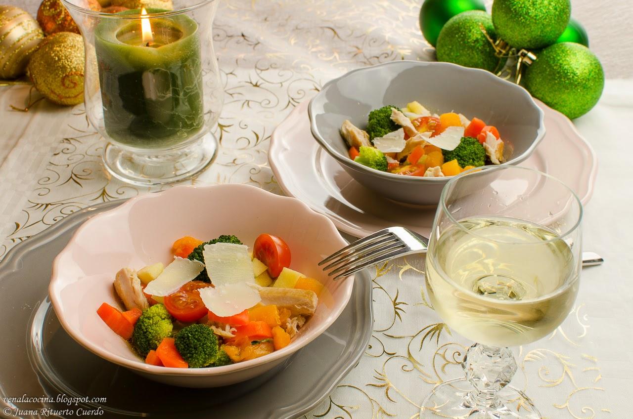 Menú de Navidad 2014. Ensalada tibia de verduras con vinagreta de naranja