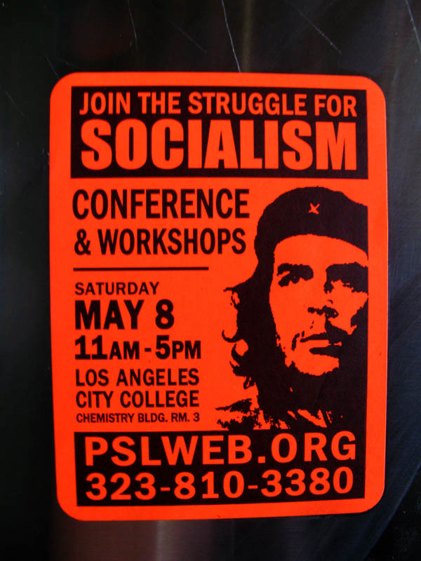 Party for Socialism and Liberation sticker in English with Che Guevara Korda image, Pasadena 2011