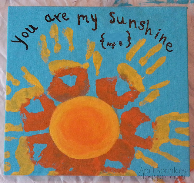 """You are my sunshine"" handprint painting April Sprinkles"