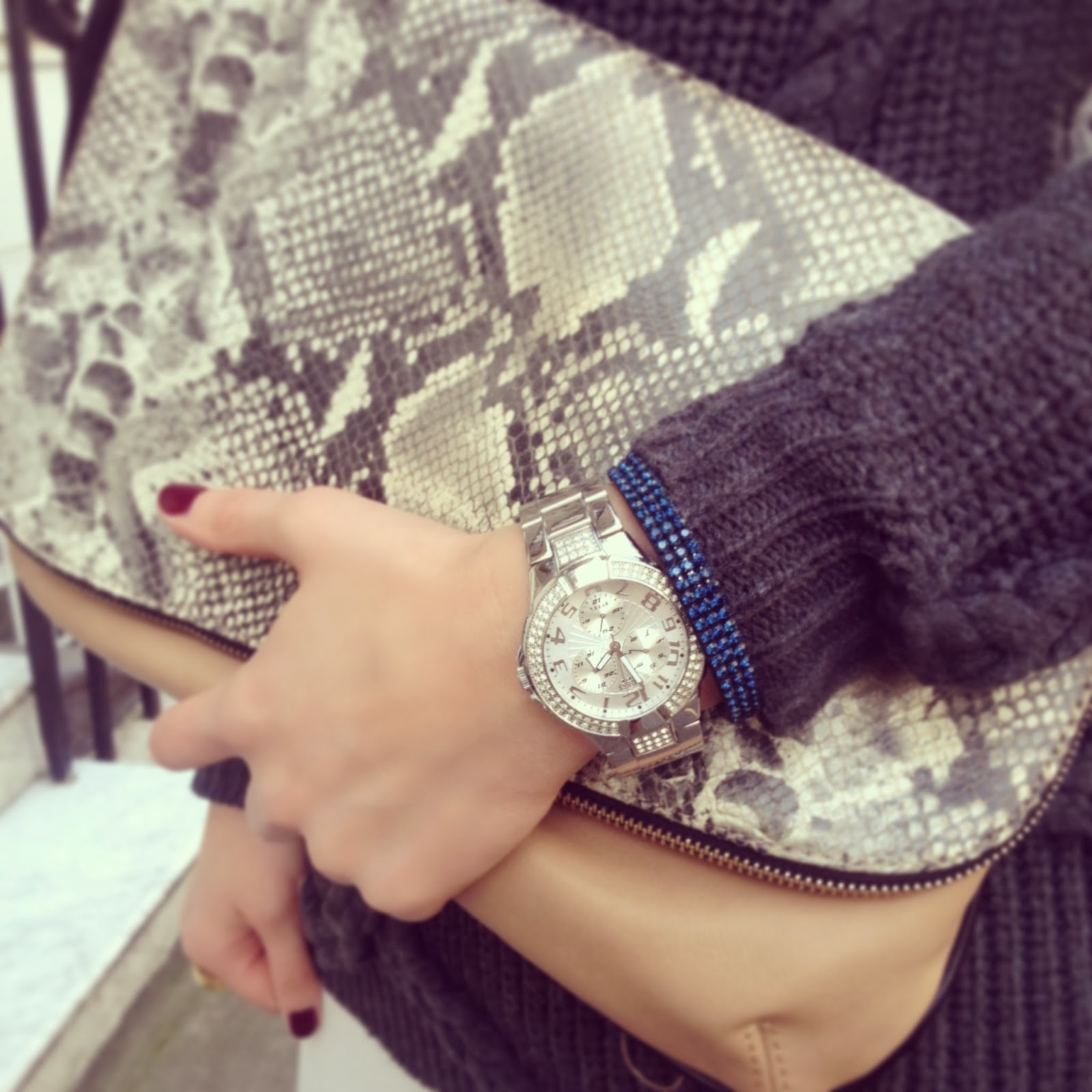 sneak print, sneak print clutch, guess, guess watch, swarovski, accessories, nails inc